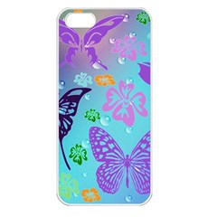 Butterfly Vector Background Apple iPhone 5 Seamless Case (White)