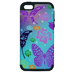 Butterfly Vector Background Apple Iphone 5 Hardshell Case (pc+silicone)