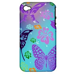 Butterfly Vector Background Apple Iphone 4/4s Hardshell Case (pc+silicone)