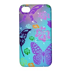 Butterfly Vector Background Apple Iphone 4/4s Hardshell Case With Stand