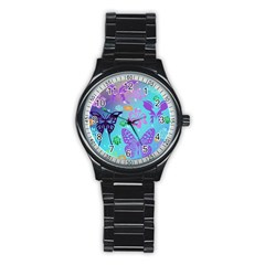 Butterfly Vector Background Stainless Steel Round Watch