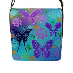Butterfly Vector Background Flap Messenger Bag (l)
