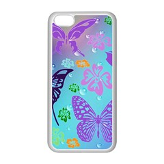 Butterfly Vector Background Apple Iphone 5c Seamless Case (white)