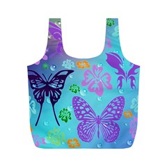 Butterfly Vector Background Full Print Recycle Bags (m)