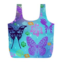 Butterfly Vector Background Full Print Recycle Bags (l)