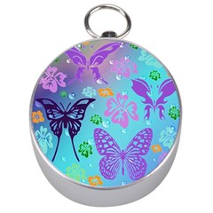 Butterfly Vector Background Silver Compasses