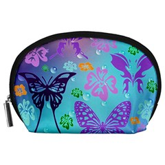 Butterfly Vector Background Accessory Pouches (large)