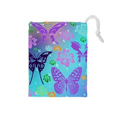 Butterfly Vector Background Drawstring Pouches (medium)