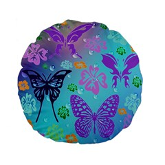 Butterfly Vector Background Standard 15  Premium Flano Round Cushions