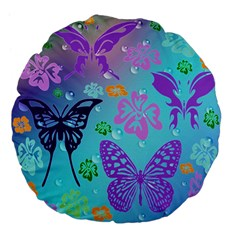 Butterfly Vector Background Large 18  Premium Flano Round Cushions