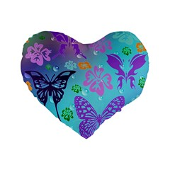 Butterfly Vector Background Standard 16  Premium Flano Heart Shape Cushions