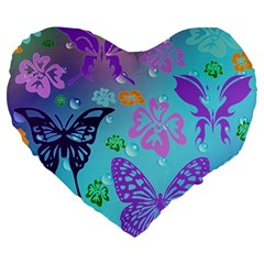 Butterfly Vector Background Large 19  Premium Flano Heart Shape Cushions