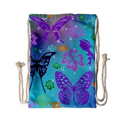 Butterfly Vector Background Drawstring Bag (small)