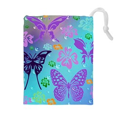 Butterfly Vector Background Drawstring Pouches (extra Large)