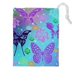 Butterfly Vector Background Drawstring Pouches (XXL)