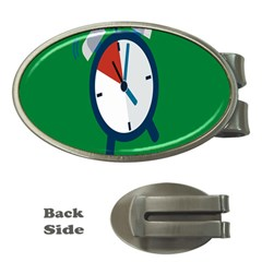 Alarm Clock Weker Time Red Blue Green Money Clips (Oval)