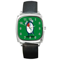 Alarm Clock Weker Time Red Blue Green Square Metal Watch