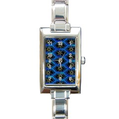 Blue Bee Hive Pattern Rectangle Italian Charm Watch