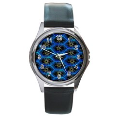Blue Bee Hive Pattern Round Metal Watch