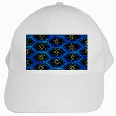 Blue Bee Hive Pattern White Cap