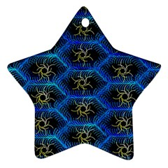 Blue Bee Hive Pattern Ornament (star)