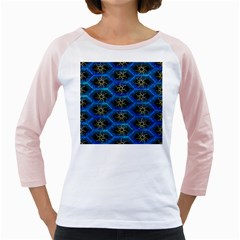 Blue Bee Hive Pattern Girly Raglans