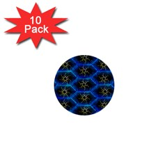 Blue Bee Hive Pattern 1  Mini Buttons (10 Pack)