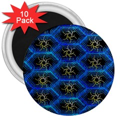 Blue Bee Hive Pattern 3  Magnets (10 Pack)