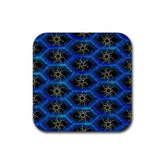 Blue Bee Hive Pattern Rubber Square Coaster (4 Pack)