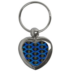 Blue Bee Hive Pattern Key Chains (heart)