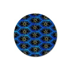 Blue Bee Hive Pattern Magnet 3  (round)