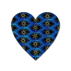 Blue Bee Hive Pattern Heart Magnet