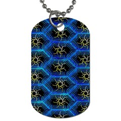 Blue Bee Hive Pattern Dog Tag (two Sides)
