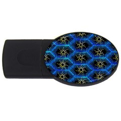 Blue Bee Hive Pattern USB Flash Drive Oval (1 GB)