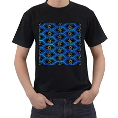 Blue Bee Hive Pattern Men s T-Shirt (Black) (Two Sided)