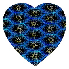 Blue Bee Hive Pattern Jigsaw Puzzle (heart)