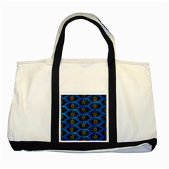 Blue Bee Hive Pattern Two Tone Tote Bag