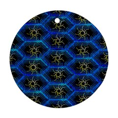 Blue Bee Hive Pattern Round Ornament (two Sides)