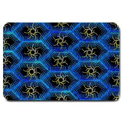 Blue Bee Hive Pattern Large Doormat