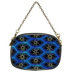 Blue Bee Hive Pattern Chain Purses (one Side)