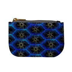Blue Bee Hive Pattern Mini Coin Purses