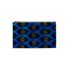 Blue Bee Hive Pattern Cosmetic Bag (small)