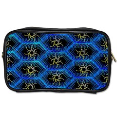 Blue Bee Hive Pattern Toiletries Bags