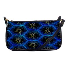 Blue Bee Hive Pattern Shoulder Clutch Bags
