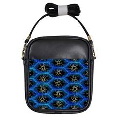Blue Bee Hive Pattern Girls Sling Bags