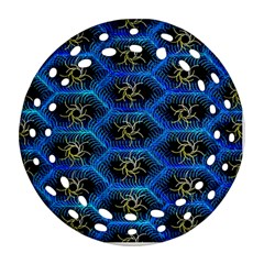 Blue Bee Hive Pattern Round Filigree Ornament (two Sides)