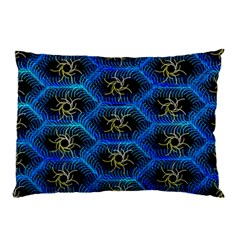 Blue Bee Hive Pattern Pillow Case (Two Sides)