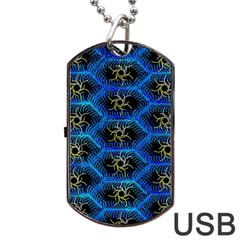 Blue Bee Hive Pattern Dog Tag Usb Flash (one Side)