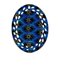 Blue Bee Hive Pattern Oval Filigree Ornament (two Sides)