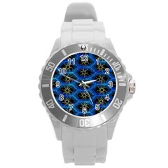 Blue Bee Hive Pattern Round Plastic Sport Watch (l)